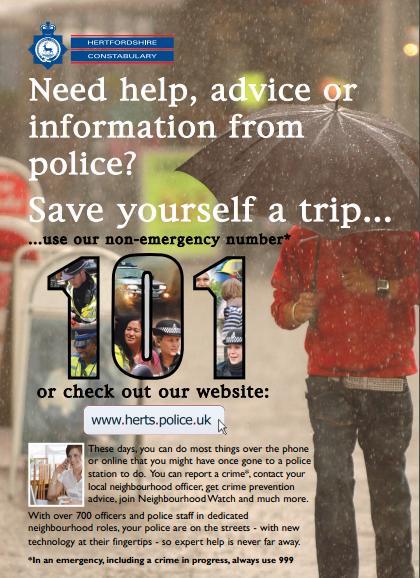 Police non emergency crime in Welwyn Hatfield